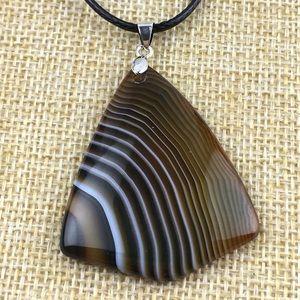 Botswana Agate Stone Pendant Necklace